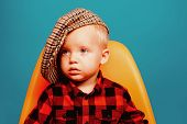 Cute And Fashionable. Small Baby In Fashionable Wear. Small Child. Boy Child With Fashion Look. Fash poster