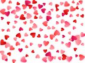 Ruby Red Flying Hearts Bright Love Passion Vector Background. Amour Backdrop. Cartoon Confetti Love  poster
