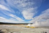 The most well-known geysers in the world in Yellowstone Park poster