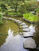 image of stepping stones  - A footpath from stones laid with brick through a fine pond in Japanese garden - JPG