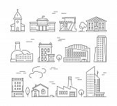 Town Buildings Icon. Urban Architecture Village Houses Factory Living Rooms Exterior Walls Vector Li poster