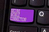 Conceptual Hand Writing Showing Secure Mobile Connection. Business Photo Showcasing Encrypted By One poster