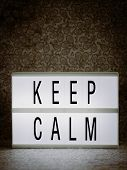 Lightbox With Powerful, Inspirational And Motivational Two Word Quote, Keep Calm poster