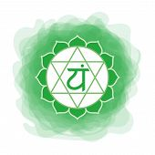 Anahata Icon. The Fourth Heart Chakra. Vector Green Smoky Circle. Line Symbol. Sacral Sign. Meditati poster