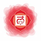 Muladhara Icon. The First Root Chakra. Vector Red Smoky Circle. Line Symbol. Sacral Sign. Meditation poster