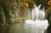 Magnificent dance fountain in well-known Butchard-garden  in Canada poster