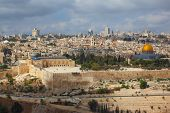 Holy City of Jerusalem. The magnificent panorama of the city. Dome of the Rock, Omar Mosque and the