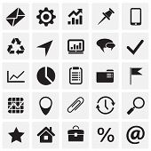 Business Simple Icons Set On Squares Background For Graphic And Web Design, Modern Simple Vector Sig poster