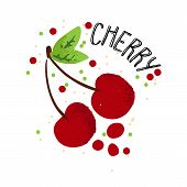 Vector Hand Draw Cherry Illustration. Red Cherries With Juice Splash Isolated On White Background. T poster