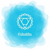 Vishuddha Icon. The Fifth Guttural Chakra. Vector Blue Smoky Circle. Line Symbol. Sacral Sign. Medit poster