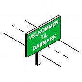 Billboard By The Road With The Inscription Welcome To Danmark, Danish Language poster