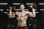 Handsome Strong Athletic Men Pumping Up Muscles Workout Bodybuilding poster