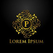 Luxury Logo, Letter P Logo, Classic And Elegant Logo Designs For Industry And Business, Interior Log poster
