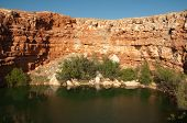 picture of bottomless  - figure eight lake and sandstone cliffs - JPG