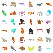 Wildlife Icons Set. Cartoon Style Of 36 Wildlife Icons For Web Isolated On White Background poster
