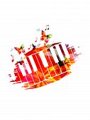 Colorful Piano Keyboard With Music Notes Isolated Vector Illustration Design. Music Background. Musi poster
