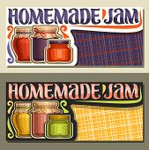 Vector Banners For Homemade Jam With Copy Space, Leaflet With 3 Home Made Colorful Glass Jars Covere poster