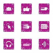 Computer Attack Icons Set. Grunge Set Of 9 Computer Attack Icons For Web Isolated On White Backgroun poster