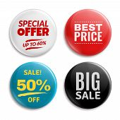 Sales Pin Badges. Circled Badging Button, 3d Glossy Price Tag. Big Sale, Best Price And Special Offe poster