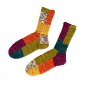 Colored Socks. Socks Winter Warm Wool Knit Isolated On White Background. Knitted Colorful Woolen Soc poster