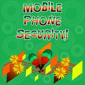 Writing Note Showing Mobile Phone Security. Business Photo Showcasing Secure Data On Mobile Devices  poster