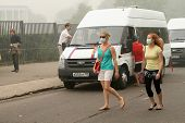 MOSCOW - AUGUST 7: Masked residents seeking to protect their respiratory channels as the carbon mono