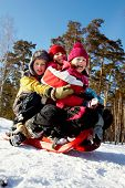 picture of toboggan  - Happy friends in winterwear tobogganing in park - JPG