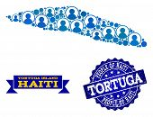 People Combination Of Blue Population Map Of Haiti Tortuga Island And Scratched Seal Stamp. Vector W poster