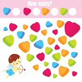 Counting Educational Children Game. How Many Objects Task. St Valentines Day Theme Activity For Todd poster