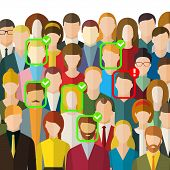 Concept Of Face Identification. A Crowd Of People With Id Marks On Face. Face Recognition System Ver poster