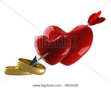 Two Hearts Pierced By An Arrow. 3D Image.