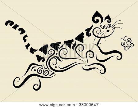 Cat floral ornament