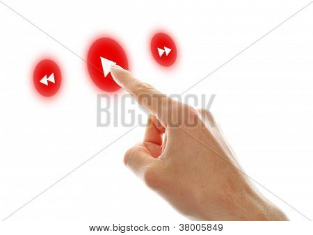 Hand Press Play Button