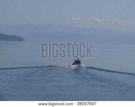 Motor boat cruising on Puget Sound