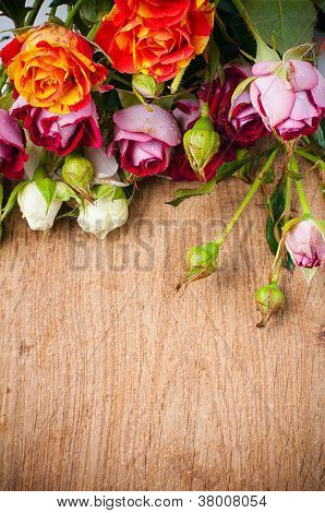 Multicolored Roses On A Wooden Board