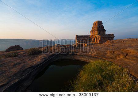 Malegitti Shivalaya Cave Temple Badami Cliff Pond