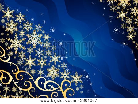Christmas Background With Snowflakes And Ornament / Vector