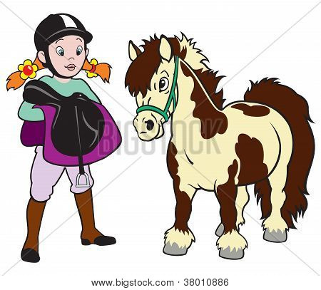 Girl With Pony Horse