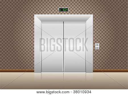 Elevator Doors Closed Vector Illustration