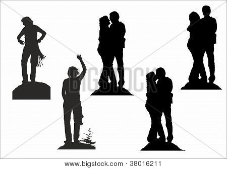 Silhouette Of Happy Couple