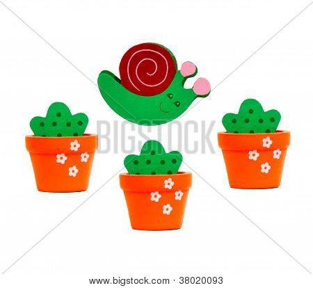 Snail And Flower Pots Made of Wood