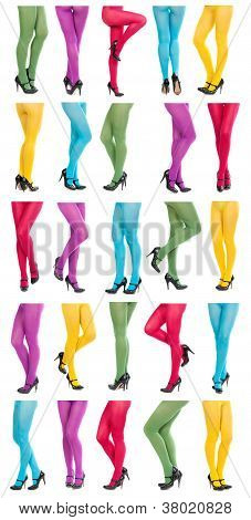 Collage Of Shapely Female Legs In Colorful Tights.