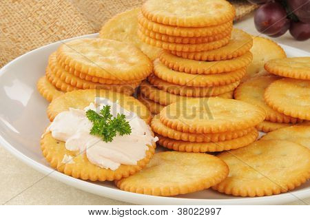 Snack Crackers With Salmon Crream Cheese