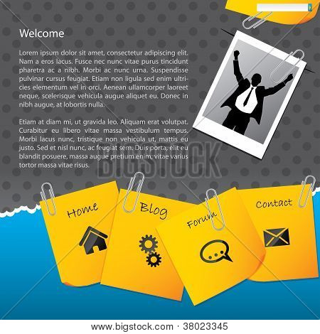 Bussines Website Template With Paper Clipped Notepapers And Photo