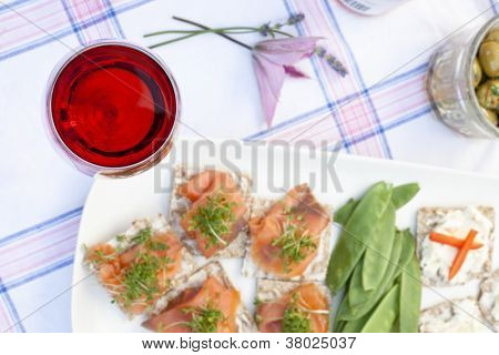 Red Wine With Snack