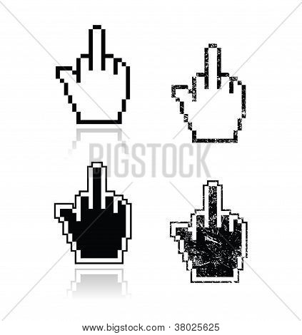 Pixelated cursor hand with middle finger up icons set
