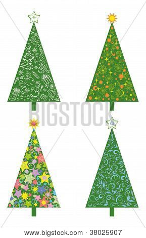 Christmas trees with patterns