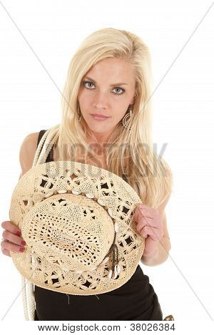 Woman Rope Hold Cowgirl Hat