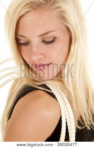 Woman Rope Shoulder Look Down