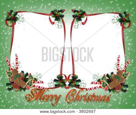 Weihnachten double Frame Green sparkle